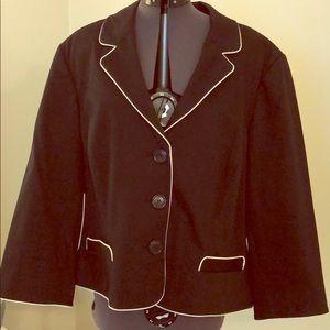INC Black blazer XL white pipe trim